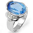 7.68 Ct Blue Topaz Round Diamond Fashion Ring 14K White Gold
