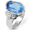 7.68 Ct Blue Topaz Round Diamond Fashion Ring 14K White Gold