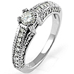 0.60CT Round Diamond Anniversary Engagement Wedding Milgrain Ring 14K White Gold