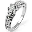 0.60CT Round Diamond Anniversary Engagement Wedding Milgrain Ring 14K White Gold