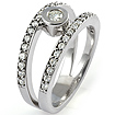 3/4 CT Round Anniversary Diamond Ring 14K White Gold