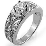 0.75Ct Round Solitaire Diamond Accent  Engagement Ring 14k White Gold