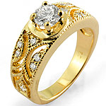0.75Ct Round Solitaire Diamond Accent Engagement Ring 14k Yellow Gold