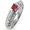 0.90 Ct Pink Sapphire & Round Diamond Anniversary Ring 14K White Gold