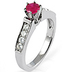 0.85 CT Round Diamond Ruby Engagement Ring 14K White Gold