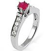 0.85 CT Round Diamond Ruby Engagement Ring 14K White Gold