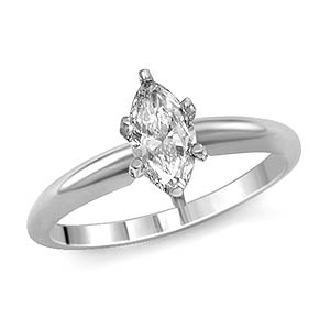 0.90 CT Marquise Solitaire Diamond Engagement Ring 14K White Gold