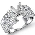 1.85 Ct Round & Princess Diamond Engagement Ring Setting 14K White Gold