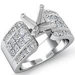 1.75 Ct Round & Princess Diamond Engagement Ring Setting 14K White Gold
