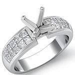 1.10 Ct Princess Diamond Engagement Ring Setting 14K White Gold