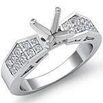 1.Ct Princess Diamond Engagement Ring Setting 14K White Gold