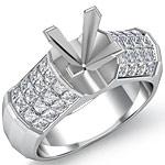 1.70 Ct Princess Diamond Engagement Ring Setting 14K White Gold