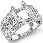 2.25 Ct Round & Princess Diamond Engagement Ring Setting 14K White Gold