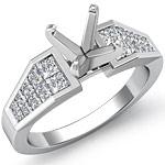 1 Ct Princess Diamond Engagement Ring Setting 14K White Gold