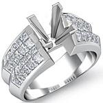 2.15Ct Princess Diamond Engagement Ring Setting 14K White Gold