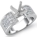 1.80 Ct Princess Diamond Engagement Ring Setting 14K White Gold