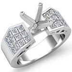 1.25 Ct Princess Diamond Engagement Ring Setting 14K White Gold