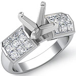 1.45 Ct Princess Diamond Engagement Ring Setting 14K White Gold