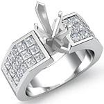 1.75 Ct Princess Diamond Engagement Ring Setting 14K White Gold