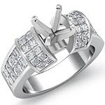 2.40 Ct Princess Diamond Engagement Ring Setting 14K White Gold