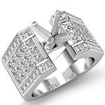 2 Ct Round & Princess Diamond Engagement Ring Setting 14K White Gold