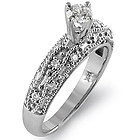 1.25Ct Round D VS2 EGL Solitaire Diamond Accent Engagement Ring 14k White Gold