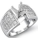 2 Ct Princess Diamond Engagement Ring Setting 14K White Gold