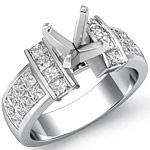 1.40 Ct Princess Diamond Engagement Ring Setting 14K White Gold