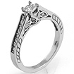 0.37 CT Princess Round Diamond Solitaire Engagement Ring 14K White Gold
