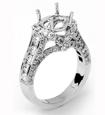 1.57 CT Round Semi Mount Diamond Engagement Ring 18k White Gold