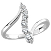 1/2 CT Round Diamond Right Hand Journey Ring 14K White Gold