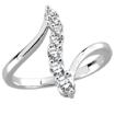 1/2 CT Round Diamond Right Hand Journey Ring 14K White Gold
