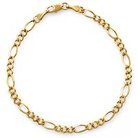 3.10 gm 14k Solid Light Yellow Gold Figaro Bracelet 7 inch