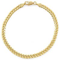 5 gm 14K Solid Gold Flat Cuban Pave Bracelet 8 inch