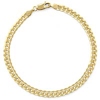 5.60 gm 14K Gold Yellow Flat Cuban Pave Bracelet 7 inch