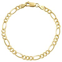 5.30gm 14K Gold Open Figaro Bracelet Chain 7.5 inch