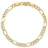6.50gm 14K Open Figaro Bracelet Chain 7 inch