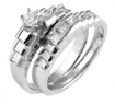 1.00 CT Princs Diamond Wedding Bridal Set Ring 14K White Gold