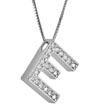 0.28 CT Letter Initial E Diamond Pendant 14k White Gold