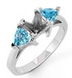 1/2 CT Aquamarine 3 Stone Semi Mount Ring 14K White Gold