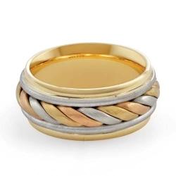 11.5gm 14K Tri Color Gold Comfort Fit Wedding Band 9mm