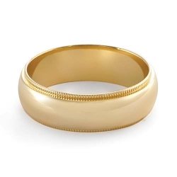 7.5gm 14 K Yellow Gold Comfort Fit Wedding Band 6.15mm