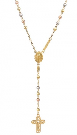 17gm 14k Tri Color Gold Bead Rosary Necklace