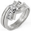 0.30 CT Round Diamond Engagement Ring Bridal Set 14K White Gold
