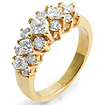 1 1/2 CT Round Princess Diamond Anniversary Ring 18K Yellow Gold