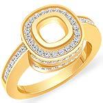 0.85 Ct Round Diamond Cushion Setting Engagement Ring 14K Yellow Gold
