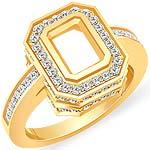 0.90 CT Round Diamond Emerald Setting Engagement Ring 14k Yellow Gold