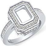 0.90 CT Round Diamond Emerald Setting Engagement Ring 14k White Gold