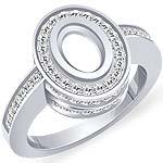 0.85 CT Oval Setting Round Diamond Engagement Ring 14k White Gold