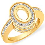 0.85 CT Oval Setting Round Diamond Engagement Ring 14k Yellow Gold